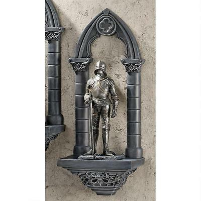 Gothic Medieval Prepare For Battle Knight On Guard Wall Sculpture Statue NEW