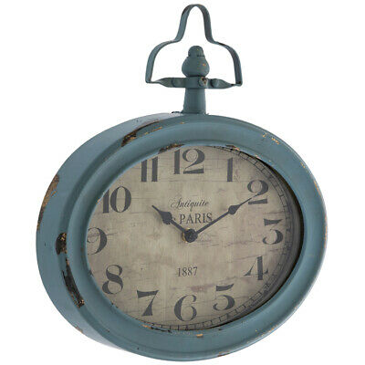 Large Vintage Teal Oval Metal Wall Clock Rustic Antique Shabby Chic Decor