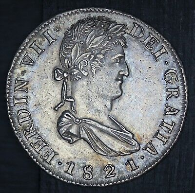 1821 Zs RG Mexico Zacatecas 8 Reales Silver Coin - KM# 111.6 - HIGH QUALITY