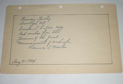 Clarence D. Martin (d. 1955) Signed Album Page - Washington Governor - Greeley