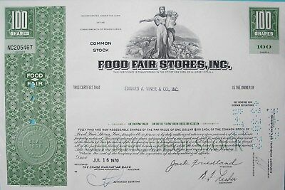 Wertpapier, USA, 100 Shares, Food Fair Stores, 1970
