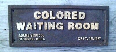 Black Segregation Sign COLORED WAITING ROOM Cast Iron