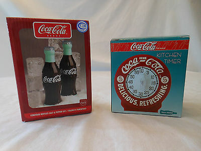 COKE coca cola kitchen timer 1996 salt and pepper shakers bottles 2002 Gibson