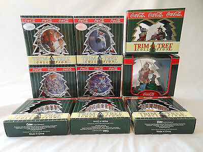COKE coca cola ornaments TRIM A TREE COLLECTION lot of 9 1990 1996 1998