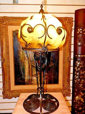 Magnificent French Glass and Rod Iron Art Deco Table Lamp