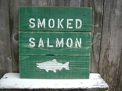 16 Inch Wood Cedar Hand Painted Smoked Salmon Sign Nautical Maritime (#s080)
