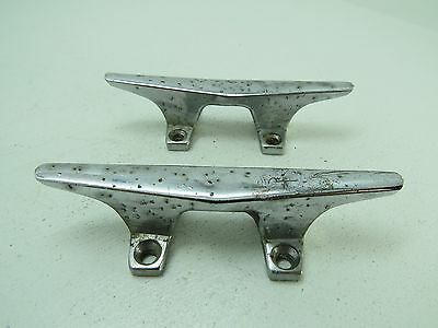 Pair 4+1/2 Inch Old Chrome Ship Boat Dock Cleats Chocks (#1540)