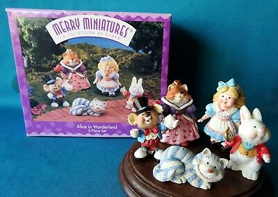 Hallmark Merry Miniature 1996 Alice in Wonderland CHESHIRE CAT QUEEN 5 piece Set