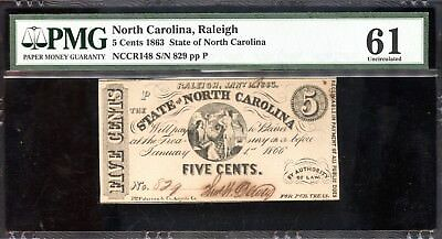 Amazing 1863 PMG 61 Unc. North Carolina 5C Currency Certified Note EP202