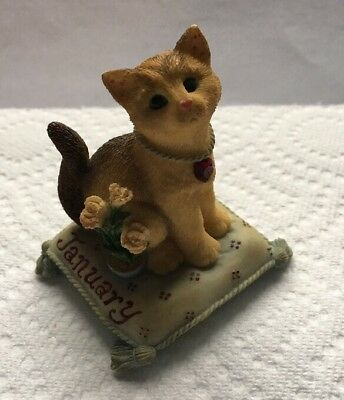 Calico Kittens Enesco Cat 2000 January Garnet Carnation 784788