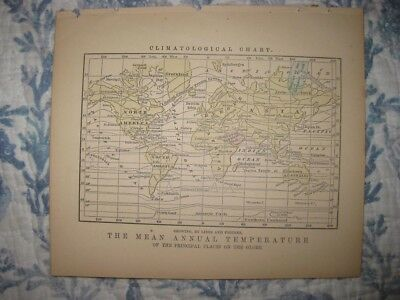 Antique 1858 World Climate Climatological Temeperature Map Asia United States Nr