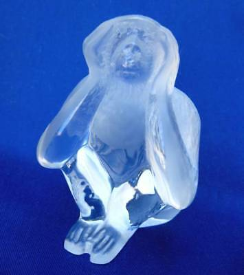 Signed Daum France Clear Frosted Art Glass Crystal Here No Evil Monkey Figurine