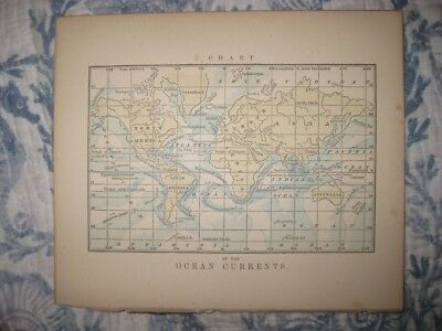 Antique 1858 Ocean Currents Handcolored World Map Asia United States Surfing Nr