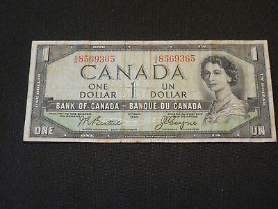 1954 Bank of Canada $1 Canadian Money - Devil's Face # S/A 8569365 Beattie/Coyne