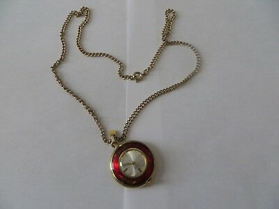 Vintage RITMA Swiss Made 17 Jewels Wind UP Pendant Necklace Watch + Chain