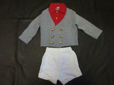 Vtg 70s BOY CHILD NAUTICAL BOATER STRIPES SUIT JACKET Cotton Shorts Polo Outfit
