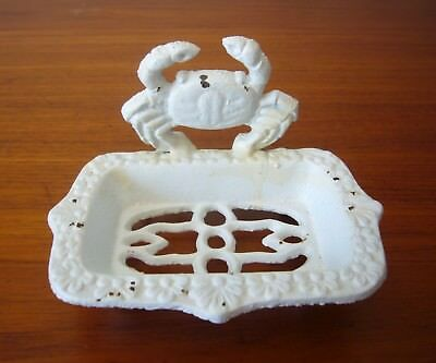"""Vintage Cast Iron standing Soap Dish 5.5 x3.5"""" freshwater land CRAB floral edge"""