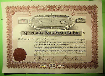 Speedway Park Association stock certificate.1915, early car race track.