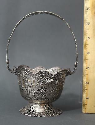 Small Fine Detailed Antique .800 Hallmarked Silver Candy Basket, NR