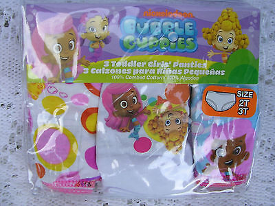 "L@@k Nickelodeon   ""BUBBLE GUPPIES""  GIRLS  3 pr.. PKG. PANTIES  SIZE 4T  NWT"