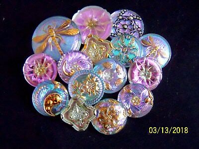 Reduced !!!!! Czech Glass Buttons(Lot Of 15 Pcs)    Vitrail Light    Mix