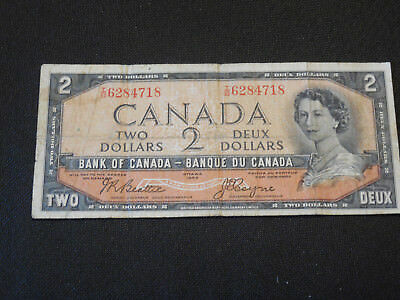 1954 Bank of Canada $2 Canadian Money - Devil's Face Very Good - # I/B 6284718