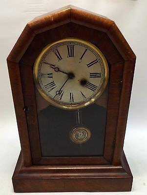 Vintage WOODEN MANTEL CLOCK With Pendulum And Key - N38