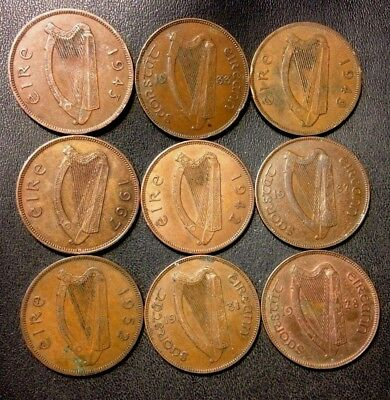 Old Ireland Coin Lot - PENNIES - 1928-1967- 9 Uncommon Coins - Lot #M13