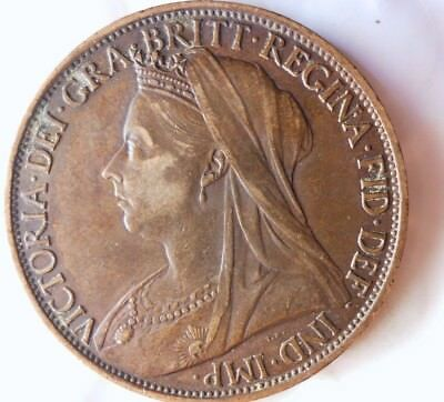 1897 GREAT BRITAIN PENNY - AU - Gorgeous High Value Coin - Lot #M13