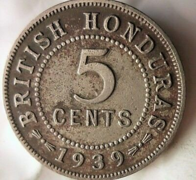 1939 BRITISH HONDURAS 5 CENTS - Very Rare LOW MINTAGE Coin - Lot #M13