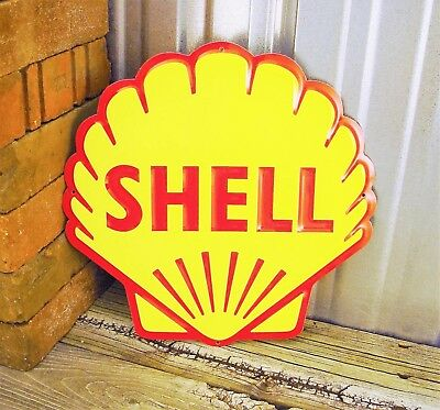 """Shell Gas Gasoline 12"""" New Embossed Yellow Metal Tin Sign Vintage Garage Station"""
