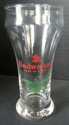Budweiser King of Beers Pub Style Beer Glass Flying Eagle Logo Green Hops & Malt
