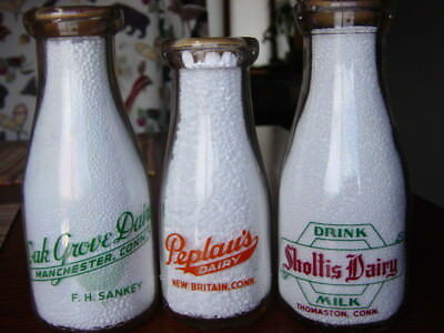 3) 1940-50's Thomaston CONNECTICUT Manchester CONN. CT. dairy milk bottle 2COLOR