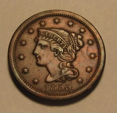 1855 Braided Hair Large Cent Penny - Extra Fine to AU Condition - 73SU-2