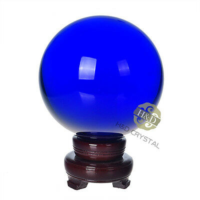 "150mm 5.9"" Royal Blue Quartz Magic Crystal Healing Ball Sphere with Wooden Stand"