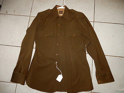 ORIGINAL WWII US ARMY WOOL CHOCOLATE OFFICERS SHIRT SIZE 14 x 34, NAMED