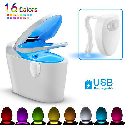 16 Color Toilet LED Night Light Motion Activated Sensor Bathroom Illumibowl Seat