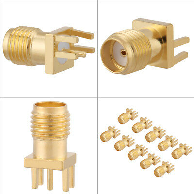 10pc NEW Brass SMA Female Base Socket Jack PCB Mount 50 Ohm RF Connectors Gold e