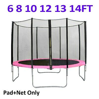 6 8 10 12 13 14 FT Trampoline Replacement Spring Cover Pading + Safety Net Pink