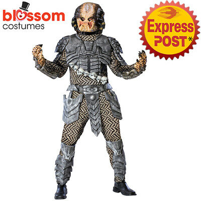 CA652 Deluxe Alien vs Predator Movie Costume Halloween Space Hunter Suit & Mask