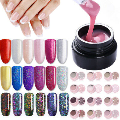 5Pcs/Set 5ml Soak Off UV Gel Polish Glitter Builder Extension Gel Painting Gel