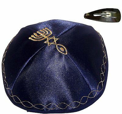 Blue Kippah with Golden Messianic Sign Embroidered Satin with clip