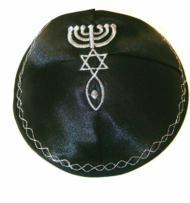 Kippah with Messianic Sign Embroidered Satin - Black