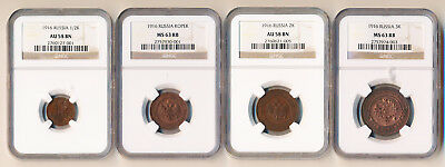FOUR 1916 RUSSIA COPPERS (HALF + 1/2/3 KOPEKS) NGC AU58 to MS63  >> NO RESERVE