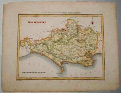 Walker Original Engraved Map Of Dorsetshire 1842 Hand Coloured Lewis Creighton