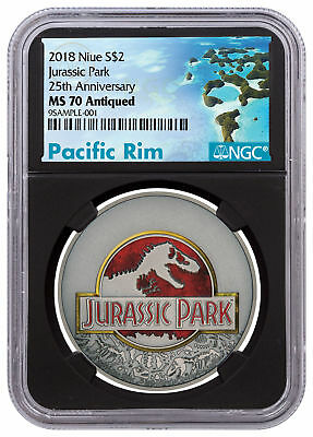2018 Niue Jurassic Park 25th Anv 1 oz Silver Antiqued $2 NGC MS70 Black SKU52371
