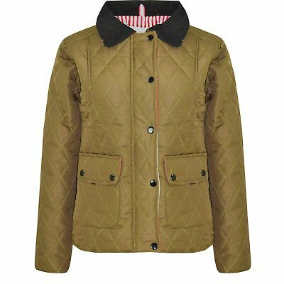 Kids Jackets Girls Khaki Quilted Padded Collar Buttoned Zipped Jacket Thick Coat