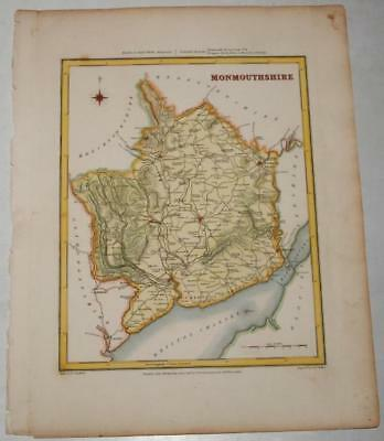 Walker Original Engraved Map Of Monmouthshire 1842 Hand Coloured Lewis Creighton