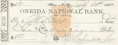1868 Onedia National Bank,, Utica,  New York Revenue Stamp