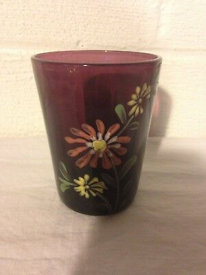 Antique Glass Hand Painted Amethyst Purple Tumbler Drinking Glass
